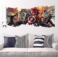 """Детская интерьерная виниловая наклейка """"Мстители. Капитан Америка 3Д (3D)"""""""