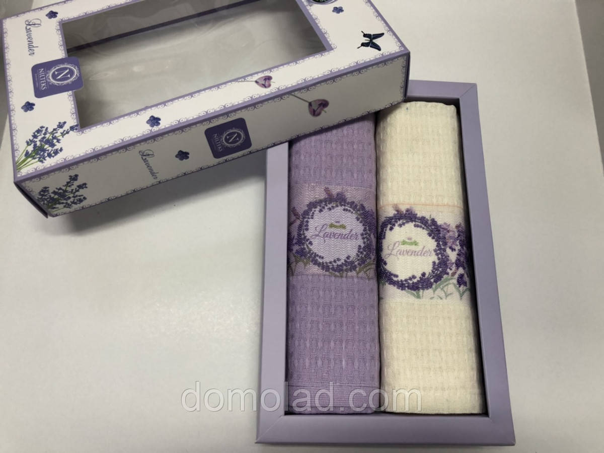 Полотенца Вафельные Кухонные Подарочный Набор 2 шт Nilteks Вышивка Лаванда Размер 40х60