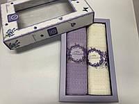 Полотенца Вафельные Кухонные Подарочный Набор 2 шт Nilteks Вышивка Лаванда Размер 40х60, фото 1