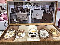 Полотенца Кухонные Махровые Coffe Подарочный Набор 5 шт Размер 40х60, фото 1