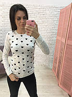 Джемпер женский меланж 42-46 универсал Турция сердца