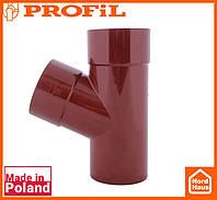 Водосточная пластиковая система PROFIL 90/75 (ПРОФИЛ ВОДОСТОК).Тройник редукционный Ø100/75/67º, красный