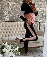 """Женский спортивный костюм """"Два лампаса""""  ,  черный с розовым , черный с голубым"""