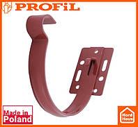 Водосточная пластиковая система PROFIL 90/75 (ПРОФИЛ ВОДОСТОК). Держатель желоба малый метал 90, красный