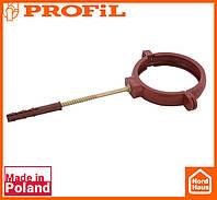Водосточная пластиковая система PROFIL 90/75 (ПРОФИЛ ВОДОСТОК). Держатель трубы пластик L160 , красный