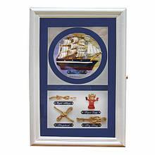 Подарочная деревянная ключница морская на стену
