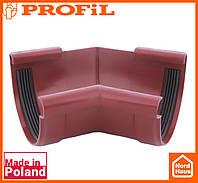 Водосточная пластиковая система PROFIL 130/100 (ПРОФИЛ ВОДОСТОК). Угол внутренний W135°. красный