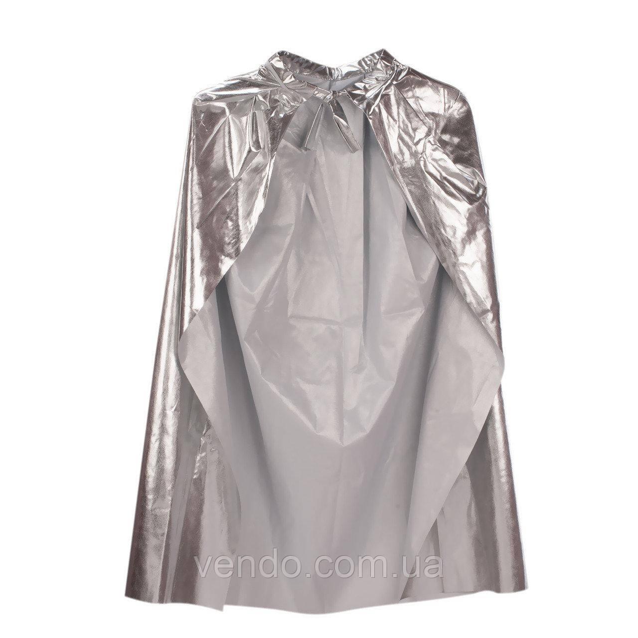 Плащ из парчи /накидка карнавальная серебряная, 130 см.