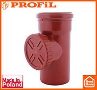 Водосточная пластиковая система PROFIL 130/100 (ПРОФИЛ ВОДОСТОК). Ревизия c решеткой, красный