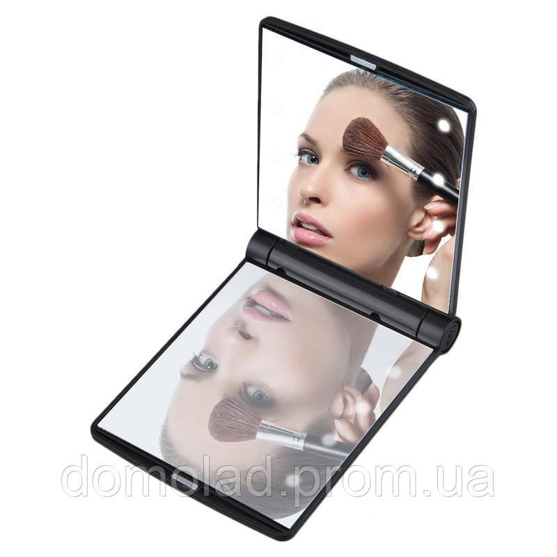 Стильное Складное Косметическое Зеркало с LED-Подсветкой Led Light Make-up Mirror Компактное Зеркало