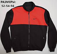 Мужская толстовка на молнии Nike (Найк) / Большой размер: 52,54,56 / трикотаж трехнитка - черная