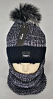 М 5001 Комплект шапка с помпоном і баф , акріл, фліс, різні кольори, фото 1