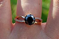 Кольцо 18 р черный камень