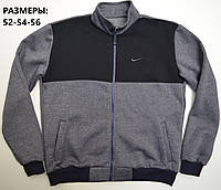 Мужская толстовка на молнии Nike (Найк) / Большие размеры: 52,54,56 / трикотаж трехнитка - джинсовая