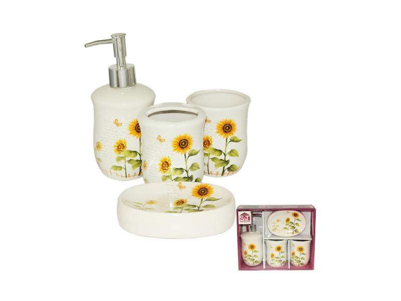 Набор аксессуаров для ванной комнаты 4 пр S&T Подсолнух 888-06-004