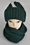 М 5003 Комплект шапка подвійна і хомут , різні кольори, фото 2