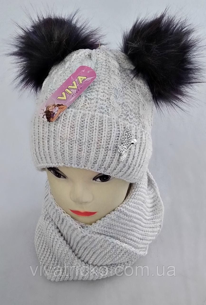 М 5011 Комплект для девочки шапка+хомут (3 -8 лет)