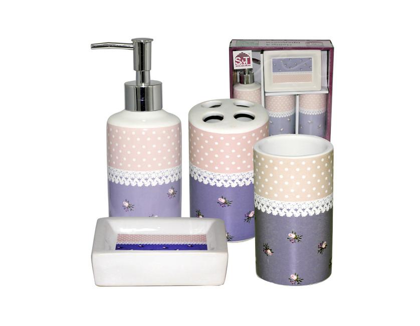Набор аксессуаров для ванной комнаты S&T Ситец 4 пр 888-06-008