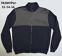 Утепленная мужская кофта Найк / Большие размеры: 52,54,56 / трикотаж трехнитка - темно-синяя