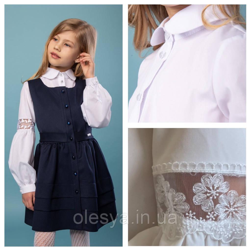 Блуза школьная c кружевом на рукавах Daisy Размеры 116 128