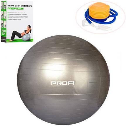 Фитбол Profi Ball 55 см + насос (MS 1539G) Серый перламутр, фото 2