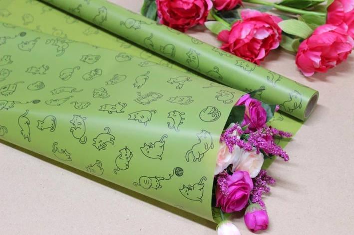 Калька для цветов - матовая флористическая пленка Котики 70см*10м Зеленая, фото 2