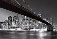 Фотообои Ночной город, Бруклинский мост Нью-Йорк №140 366x254см (Клей в комплекте) W+G