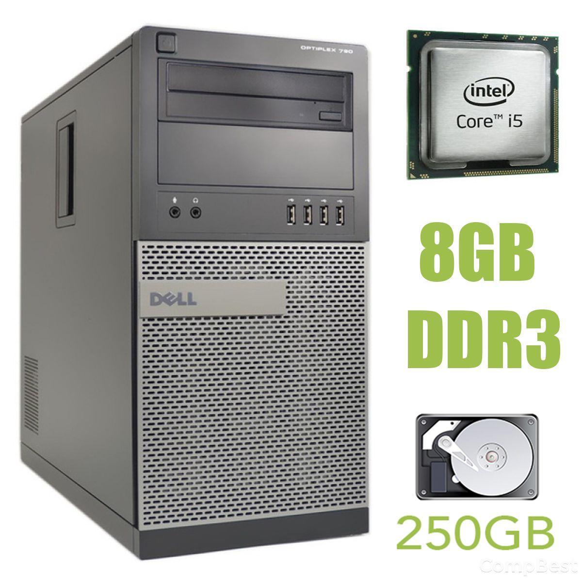 Dell Optiplex 790 MT / Intel Core i5-2400 (4 ядра по 3.1-3.4GHz) / 8GB DDR3 / 250GB HDD