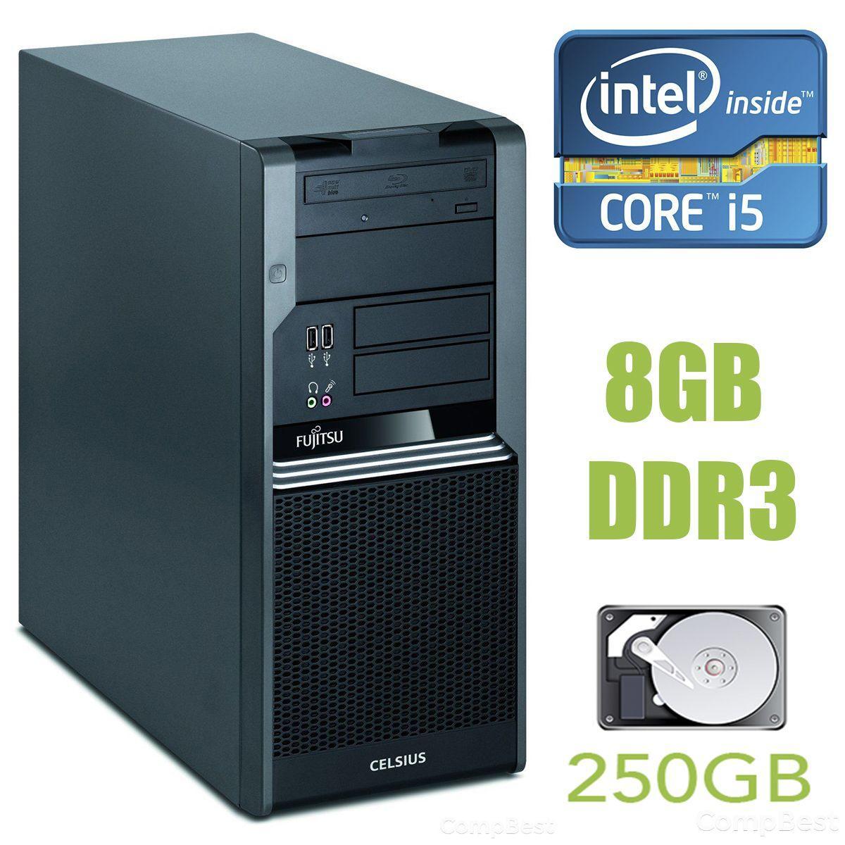 Fujitsu Celsius W380 MT / Intel Core i5-650 (2(4) ядра по 3.2 - 3.46GHz) / 8GB DDR3 / 250GB HDD