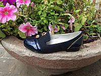 Стильные школьные туфли р32,33 в синем цвете для девочки