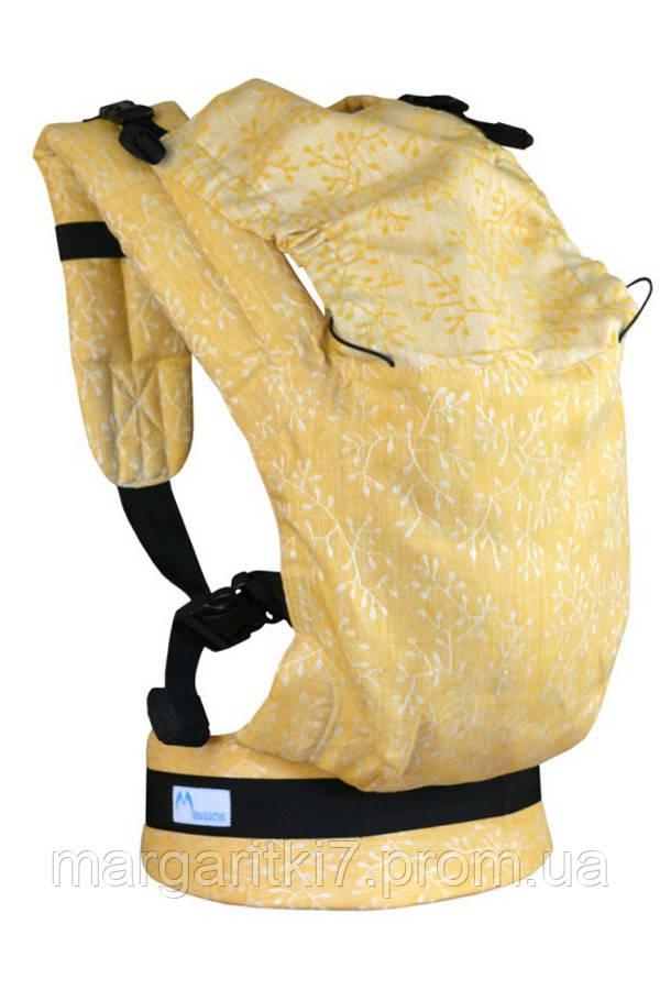 Льняной жаккардовый эрго рюкзак Малышастик Basic Веточки - фото 2