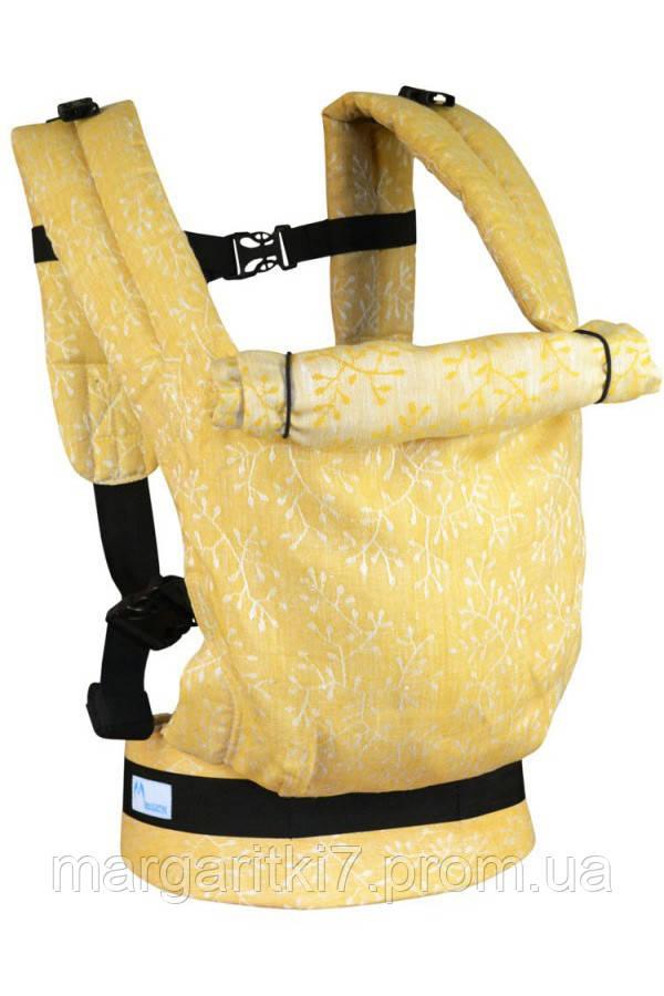 Льняной жаккардовый эрго рюкзак Малышастик Basic Веточки - фото 3