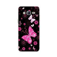 Чехол Print для Samsung J3 2016 / J320 / J300 силиконовый бампер Бабочки розовые