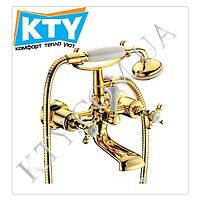Смеситель для ванны Imprese Cuthna 10280 zlato золото, двухвентильный. Кран с душем