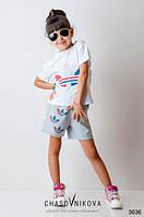 Детский летний костюм для девочки / мальчика  Addidas бело-серый