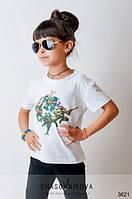 Детская футболка для девочки Ниндзя белый черепашки