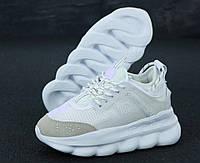 Мужские кроссовки Versace Chain Reaction, белые, замша, текстиль, в стиле Версаче Чейн Реакшн, код KD-11914-1.