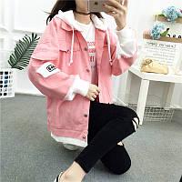 Вільна джинсова куртка з капюшоном, фото 1