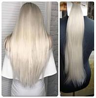 Волосы трессы ТЕРМо на заколках набор из 7 прядей длина 55 см платиновый  блонд №60