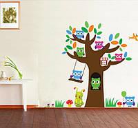 """Интерьерная наклейка в детскую """"Дерево с совами"""", цвет разный, размер 65*69см."""