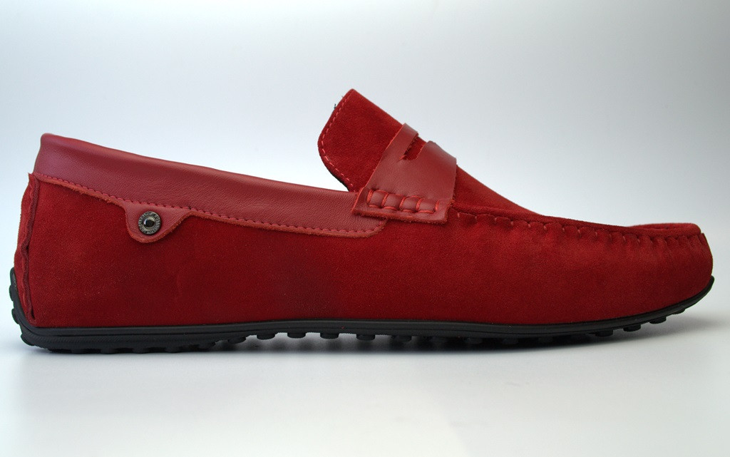 Мокасины мужские красные замшевые обувь летняя ETHEREAL Fera Barn Red Vel by Rosso Avangard