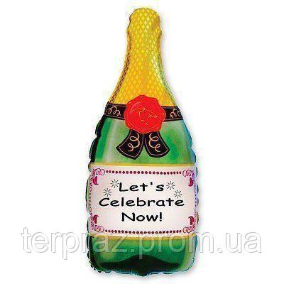 Фольгированные шары большие фигуры   фигура/8 бутылка шампанского(fm)