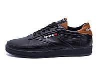 Мужские кожаные кроссовки Reebok Black line (реплика)
