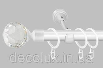 Белый Карниз для штор металлический, однорядный 19 мм (комплект)