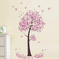 """Наклейка на стену """"Дерево бабочек"""", цвет розовый, размер 70*100см."""