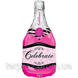 """Фольгированные шары большие фигуры   39"""" фигура шампанское розовое"""