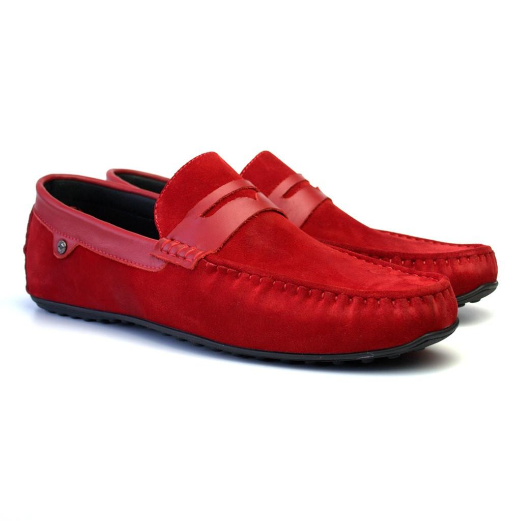 Красные замшевые мокасины мужская обувь большой размер ETHEREAL Fera Barn Red Vel BS by Rosso Avangard