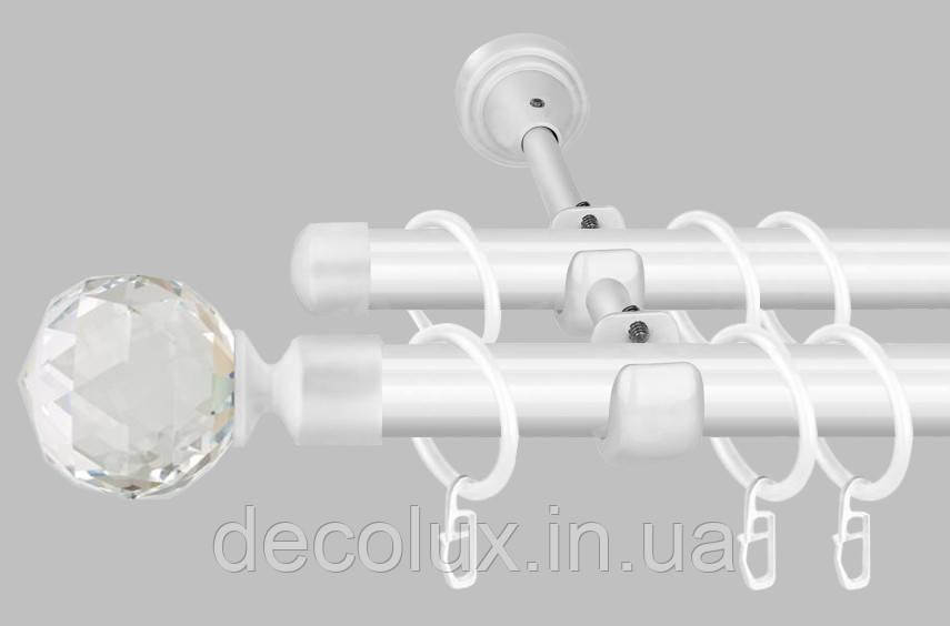 Білий Карниз для штор металевий, дворядний 19 мм (комплект) Білий