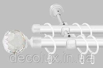 Белый Карниз для штор металлический, двухрядный 19 мм (комплект)