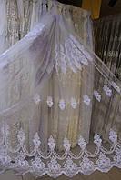 Гардина фатиновая с вышивкой корона белого цвета